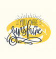 you are my sunshine confession or phrase written vector image
