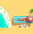 young woman bikini on sun lounger holding coconut vector image