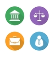 Law flat design icons set vector image