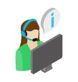 Call center operator icon isometric 3d style vector image