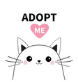 adopt me dont buy white contour cat face vector image vector image