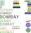 Bombay text design set vector image vector image
