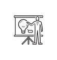 businessman at presentation board with light bulb vector image