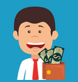 businessman with wallet money avatar character vector image