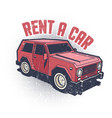 car rental old school emblem vector image
