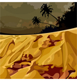 cartoon surreal landscape of the jungle at sunset vector image