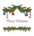 christmas decoration with holly and spruce tree vector image
