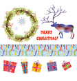 Christmas design elements set - funny cartoons vector image