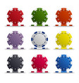 collection of colored poker chips template vector image vector image