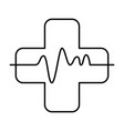 cross with pulse cardiac vector image