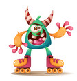 crtoon monster characters roller skate vector image vector image