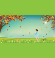 cute little girl and dog catching butterflies vector image