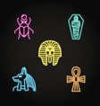 egypt icons set in neon line style vector image vector image