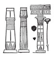 egypt types columns vintage engraving vector image vector image