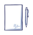 empty sheet of paper with signature fountain pen vector image vector image