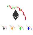 ethereum fall chart icon vector image vector image