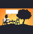 funny man reading at table in park vector image vector image