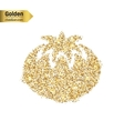 Gold glitter icon of tomato isolated on vector image vector image