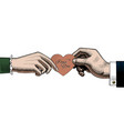 hand man give a red rose to woman a red heart vector image