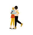 happy interracial lesbian couple two hugging vector image vector image