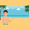 happy man in summer beach vacation design vector image vector image