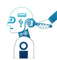 humanoid robot profile with wrench and hand vector image vector image