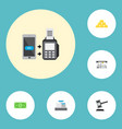icons flat style contactless transaction dollar vector image vector image