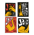 jazz music festival poster set vector image vector image