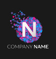 Letter n logo with blue purple pink particles