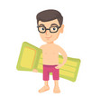 little caucasian boy holding inflatable mattress vector image vector image