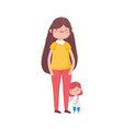 mother and little daughter standing on white vector image vector image