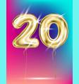 number twenty gold foil balloon on gradient vector image vector image