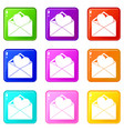 open envelope with heart icons 9 set vector image vector image