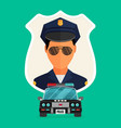 police officer with car avatar trendy policeman vector image