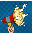 Pop art megaphone design loudspeaker cartoon vector image vector image