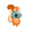 red squirrel taking picture with photo camera