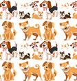 Seamless background with many dogs vector image vector image