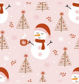 seamless pattern with cute snowman and christmas t vector image vector image