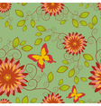 Seamless pattern with flower and butterfly vector image