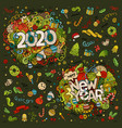 set 2020 and new year hand lettering and vector image