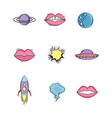 set fashion mouth patch with rocket and ufo vector image