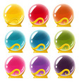 set of crystall balls on white background vector image
