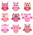 set of cute pink and red owls girls vector image vector image