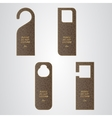 Set of four brown leather VIP tag on the door with vector image
