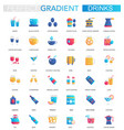 set of trendy flat gradient drink icons vector image vector image