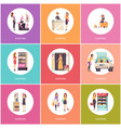 shopping women in shops poster with text vector image vector image