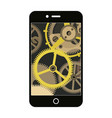 smartphone with a vintage gear mechanism inside vector image vector image