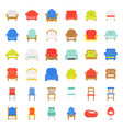sofa and chair flat design icon set vector image