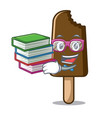 student with book chocolate ice cream mascot vector image vector image