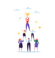 successful team work pyramid of business people vector image vector image